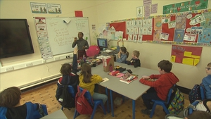 Alex Mbowoua teaching her class at Canal Way Educate Together School back in February