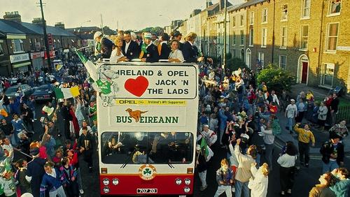 The Irish team make their way onto Dublin city centre after their World Cup exploits