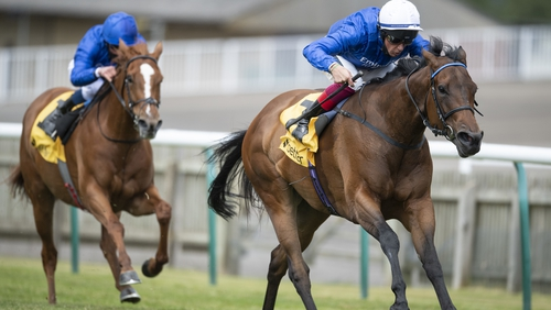Terebellum wins the Dahlia Fillies' Stakes on the Rowley Mile