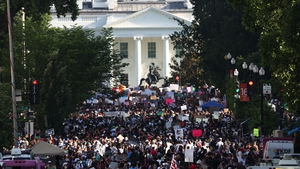 Thousands of demonstrators take part in a peaceful protest in Washington DC