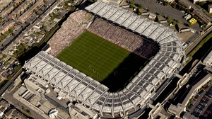 An aerial view of Croke Park with Hill 16 on the left