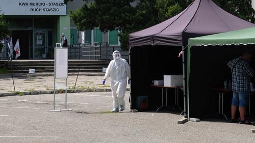 Sampling point to test miners on the coronavirus at the Murcki-Staszic mine in Katowice, Poland