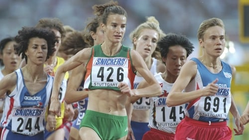 Sonia O'Sullivan in action during a 3,000 metres heat at the 1993 World Championships