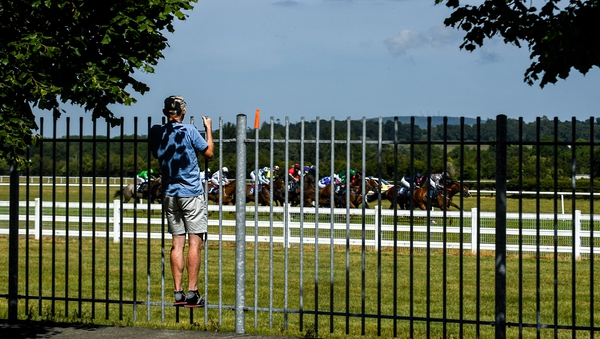 A punter looks on during the action at Naas
