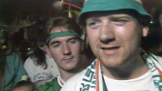 Packie Bonner Fans Celebrate in Burtonport (1990)