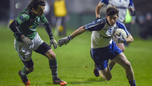 David Garland (R) in action for Monaghan against Fermanagh