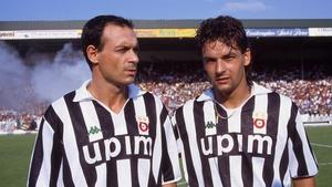 Toto Schillaci (l) with Roberto Baggio in 1990
