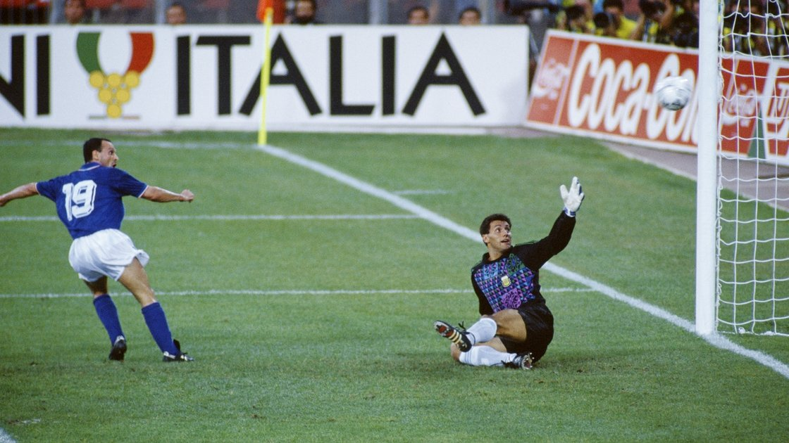 Image - Schillaci wheels away after firing Italy ahead against Argentina