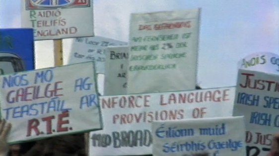 TV Licence Protest (1985) demanding more Irish language on RTÉ