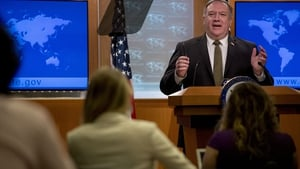 Secretary of State Mike Pompeo speaks during a news conference at the State Department in Washington, DC