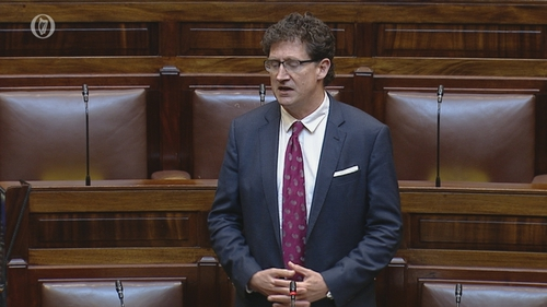 Green Party leader Eamon Ryan speaking in the Dáil today