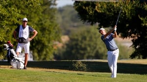 Justin Rose plays a shot on the 14th hole during the first round of the Charles Schwab Challenge