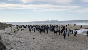 Up to 200 people gathered on a beach near An Fál Carrach in west Donegal