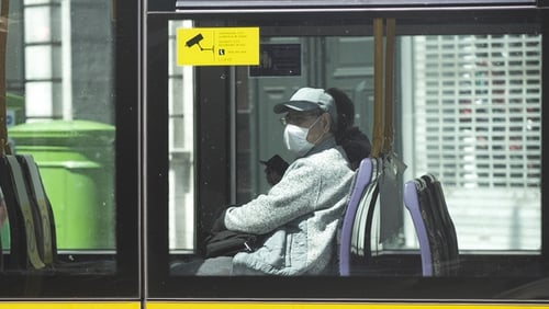 People in Ireland are encouraged to wear face coverings on public transport