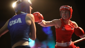 Virginia Fuchs (R) fights during U.S. Olympic Boxing Team Trials last December