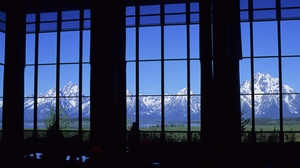 The view from the lobby of the Jackson Lake Lodge, which is closed due to the outbreak of Covid-19