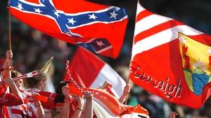 A Confederate flag (top-left) at a Cork match