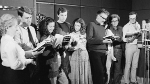The RTÉ Players record Ulysses in 1982 (Patrick Dawson, playing Stephen Dedalus, pictured second from left)