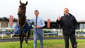 Ger Lyons celebrates with his Guineas hero