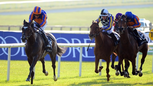 Fancy Blue (blue cap) reversed form with Irish 1,000 Guineas winner Peaceful at Chantilly on Sunday
