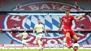 Leon Goretzka scores the match winner for Bayern Munich