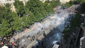 The protesters gathered in Place de la Republique, chanting 'No justice, no peace'