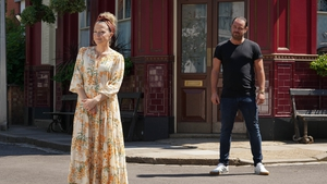 Kellie Bright and Danny Dyer - Socially distancing on the EastEnders set