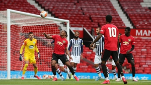 Anthony Martial in action during a practice match against West Brom at Old Trafford