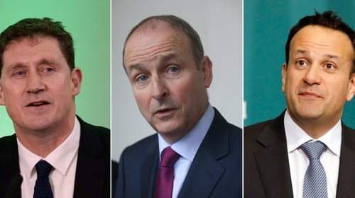 Eamon Ryan, Micheál Martin and Leo Varadkar (l-r) could rotate as taoiseach