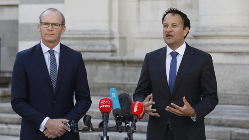 Fine Gael's Simon Coveney and Leo Varadkar speaking at a press briefing at Government Buildings (RollingNews.ie)