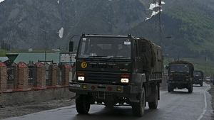 Indian army trucks travel along the Srinagar-Leh Highway in the disputed region