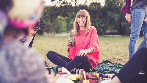 woman attending picnic with friends