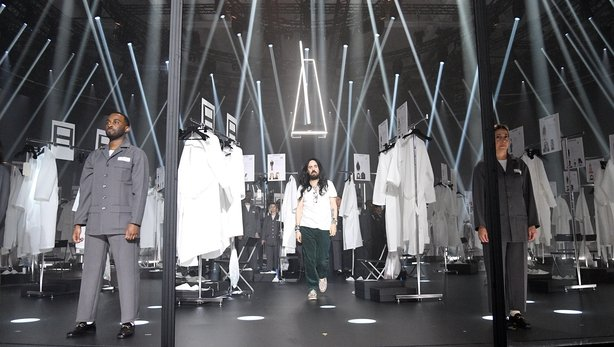 Fashion Designer Alessandro Michele acknowledges the appause of the audience during the Gucci Fall/Winter 2020/21 fashion show
