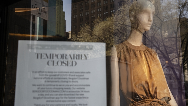A sign in the window announces the closing of the store at Bergdorf Goodman Department store as it sits closed in the wake of the Coronavirus, COVID19,