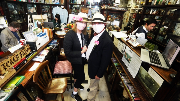 Scott and Reg Hayes from Dublin in Sweny's Pharmacy as part of Bloomsday celebrations (Pic: RollingNews.ie)
