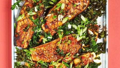 Miso Aubergines with Tofu, Sesame and Chilli