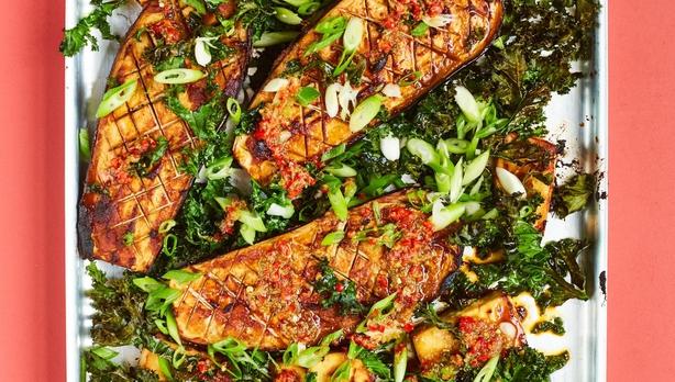 miso aubergines from The Green Roasting Tin by Rukmini Iyer (David Loftus/PA)