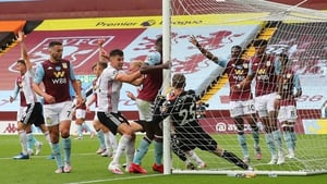 Orjan Nyland of Aston Villa fumbled and carried the ball behind the line but the Hawk-Eye cameras failed to spot the goal