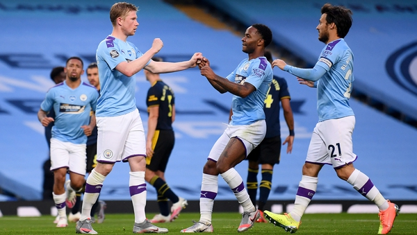 Kevin De Bruyne celebrates City's second from the spot