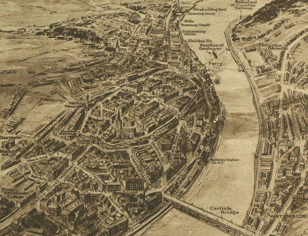 The city of Derry, showing some of the areas that saw most of the action during the recent riots Photo: Illustrated London News [London, England], 3 July 1920