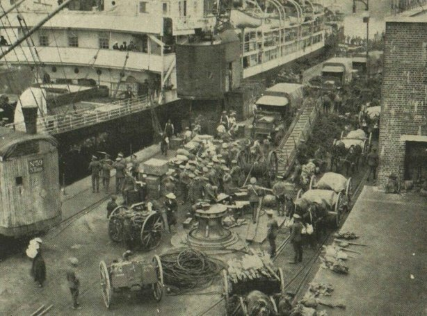 British troops bound for Ireland aboard the transport ship, the 'Czaritza', but will there be trains waiting from them when they arrive Photo: Illustrated London News [London, England], 12 June 1920