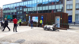 The new temporary public toilet on Dublin's Wolfe Tone Square. Photo: Dublin City Council North City Centre @DCCnorthcity