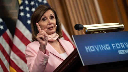 Nancy Pelosi said violating an international treaty would result in 'absolutely no chance' of a US-UK trade agreement (file pic)