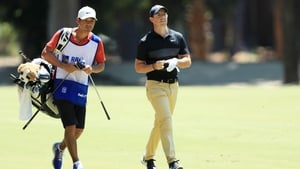 Rory McIlroy and caddie Harry Diamond on the 12th hole at Hilton Head