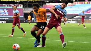 Wolverhampton Wanderers' Adama Traore holds of West Ham's Declan Rice at London Stadium