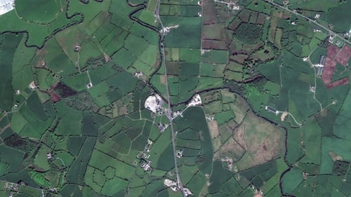 Satellite imagery of the border area just south of Aughnacloy, Co Tyrone. Photo: DigitalGlobe via Getty Images