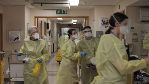 Staff at work in one of the Covid wards at St James's Hospital
