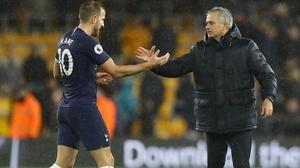 Jose Mourinho and Harry Kane (L)