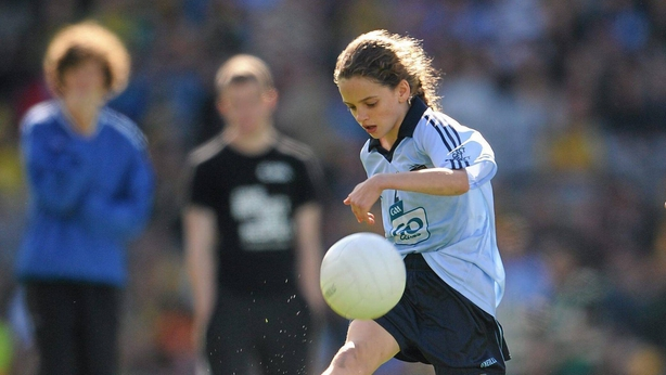 A very young Leanne Kiernan playing for Dublin in a Go Games Exhibition at Croke Park in 2011