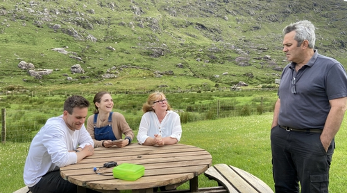 Eilise Sullivan with her family at Anam Valley Farm in the Black Valley in Co Kerry